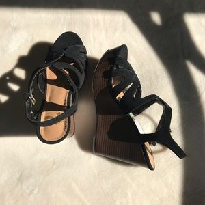 Black Stappy Wedges